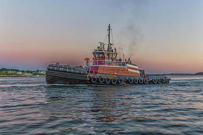 Photograph - Tugboat Buckley Mcallister At Sunset by Brian MacLean