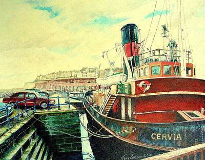 North Sea Painting - Tugboat Cervia At Ramsgate Harbour. by Tony Sussex