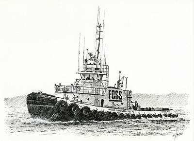Tugboat Daniel Foss Heading Out Art Print by James Williamson
