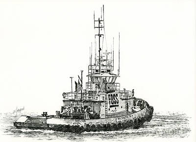 Seattle Drawing - Tugboat Daniel Foss by James Williamson