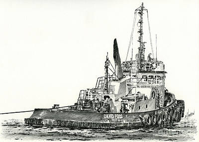 Northwest Drawing - Tugboat David Foss by James Williamson