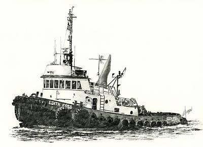 Tugboat Edith Foss Art Print by James Williamson