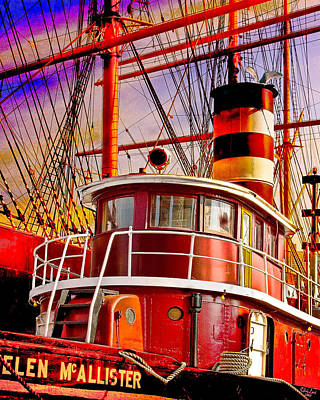Thomas Kinkade Royalty Free Images - Tugboat Helen McAllister Royalty-Free Image by Chris Lord