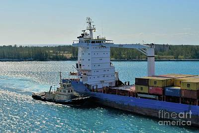 Photograph - Tugboat Helping Container Ship Out Of Harbor by Janette Boyd