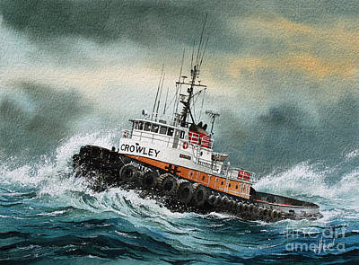 Tugboat Wall Art - Painting - Tugboat Hunter Crowley by James Williamson