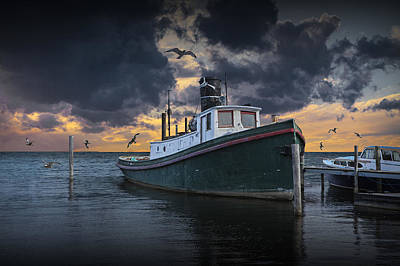 Photograph - Tugboat In The Harbor With Flying Gulls by Randall Nyhof