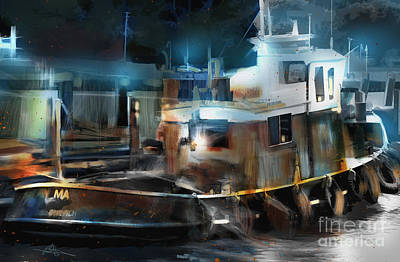 Great Lakes Ship Painting - Tugboat Port Of Goderich On by Bob Salo