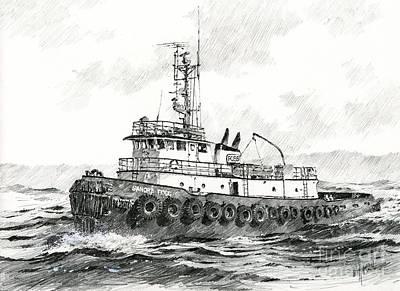 Northwest Drawing - Tugboat Sandra Foss by James Williamson