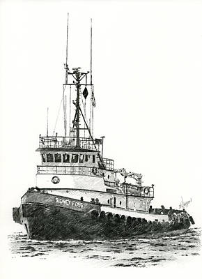 Northwest Drawing - Tugboat Sidney Foss by James Williamson
