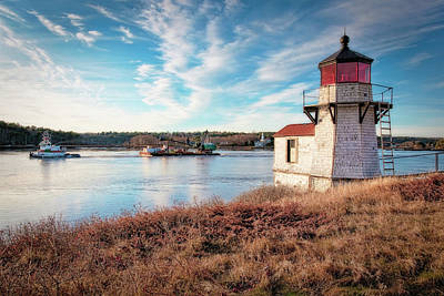 Photograph - Tugboat, Squirrel Point Lighthouse by Gary Shepard