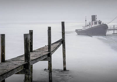 Tugboat Stuck In The Winter Ice Art Print by Randall Nyhof