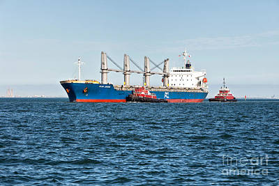 Transportion Photograph - Tugboats And Oil Tanker by Inga Spence