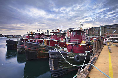Photograph - Tugboats At Dusk by Eric Gendron