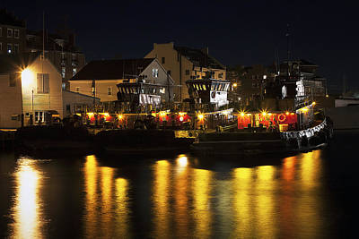 Tugboats At Night Art Print by Eric Gendron