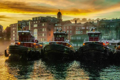 Tugboats In Portsmouth Harbor At Dawn Art Print