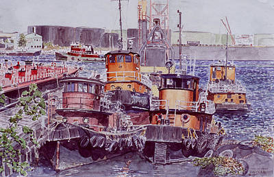 Tugboat Wall Art - Painting - Tugboats Kill Van Kull Staten Island by Anthony Butera
