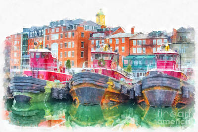 Tugboat Wall Art - Digital Art - Tugboats Portsmouth New Hampshire Watercolor by Edward Fielding