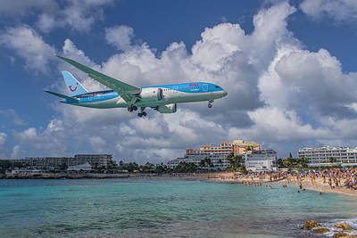 Photograph - Tui Airlines Netherland 787 Landing At Sxm Airport by David Gleeson