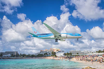 Photograph - Tui Airlines Netherlands Landing At St. Maarten Airport by David Gleeson