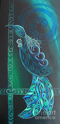 Fauna Painting - Tui Bird By Reina Cottier by Reina Cottier