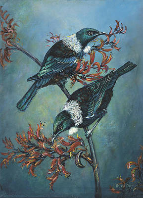 Painting - Tui On Flax by Peter Jean Caley