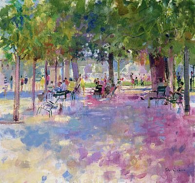 Sit-ins Painting - Tuileries  Paris by Peter Graham