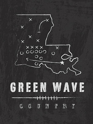 Tulane Green Wave Country Art Print by Damon Gray