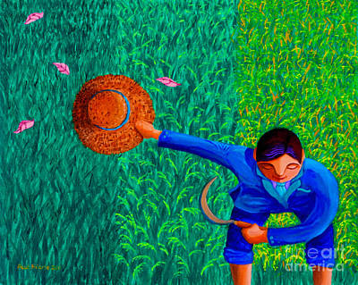 Filipino Painting - Tularan Ang Palay by Paul Hilario
