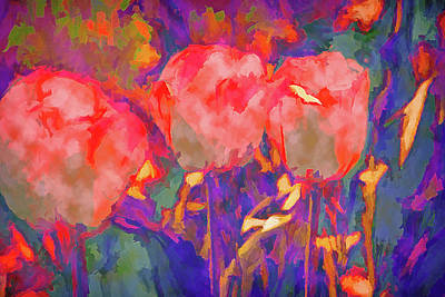 Mixed Media - Tulip Abstract 12 by Lynda Lehmann