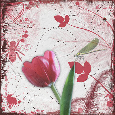 Journal Digital Art - Tulip And Dragonfly by Lesley Smitheringale