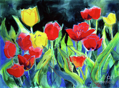 Impressionistic Landscape Painting - Tulip Bed At Dark by Kathy Braud