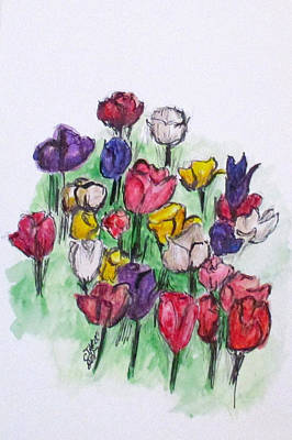 Painting - Tulip Bed by Clyde J Kell