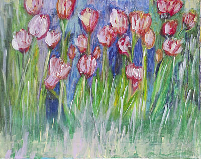 Italian Wine Painting - Tulip Bed by Don  Wright