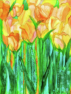 Mixed Media - Tulip Bloomies 1 - Yellow by Carol Cavalaris