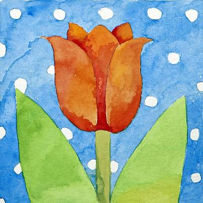 Red White And Blue Drawing - Tulip Blue White Spot Background by Jennifer Abbot