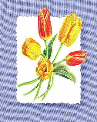 Tulips Watercolor Wall Art - Painting - Tulip Bouquet On Baby Blue by Irina Sztukowski