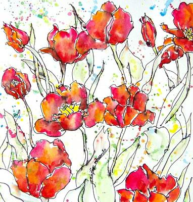 Jennifer Edwards Painting - Tulip Dance by Jennifer Edwards