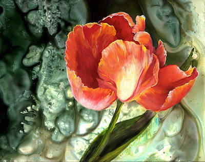 Art Print featuring the painting Tulip Dance by Sherry Shipley