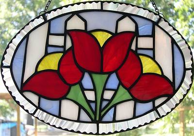 Glassart Glass Art - Tulip Fence by Liz Lowder