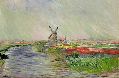 Mill Painting - Tulip Field In Holland by Claude Monet