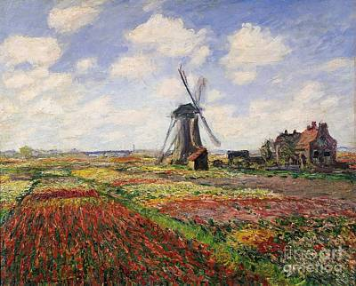 Red Tulip Painting - Tulip Fields With The Rijnsburg Windmill by Claude Monet