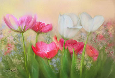 Art Print featuring the painting Tulip Garden by Bonnie Willis