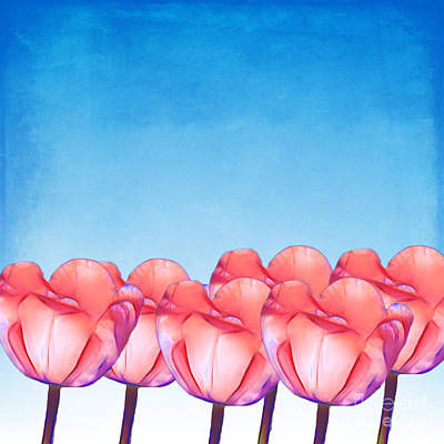 Blooming Digital Art - Tulip Garden Illustrated by Terry Weaver