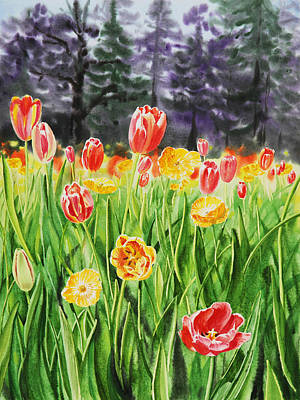 Tulips Watercolor Wall Art - Painting - Tulip Garden In San Francisco by Irina Sztukowski