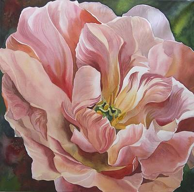 Art Print featuring the painting Tulip In Pink by Alfred Ng