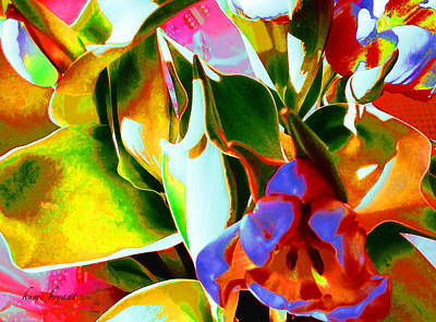 Mixed Media - Tulip Kisses Abstract 3 by Kume Bryant