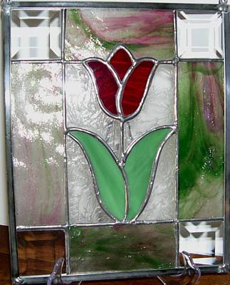 Glass Art - Tulip Patch by Liz Lowder