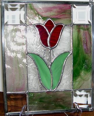 Glass Art - Tulip Patch by Liz Lowder