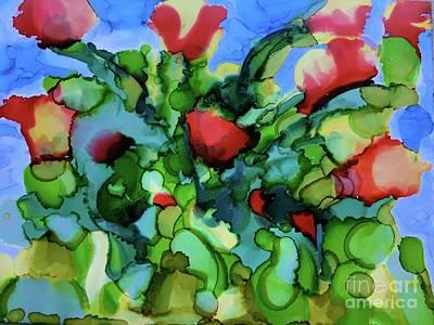 Mixed Media - Tulip Poppy by Johanne Peale