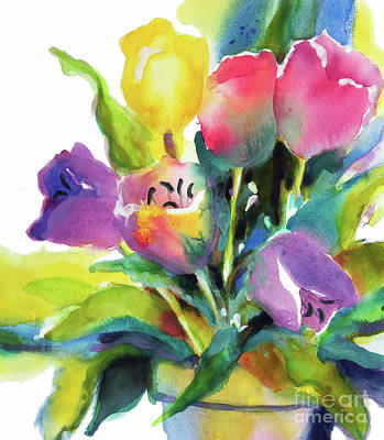 Tulips Watercolor Wall Art - Painting - Tulip Pot by Kathy Braud